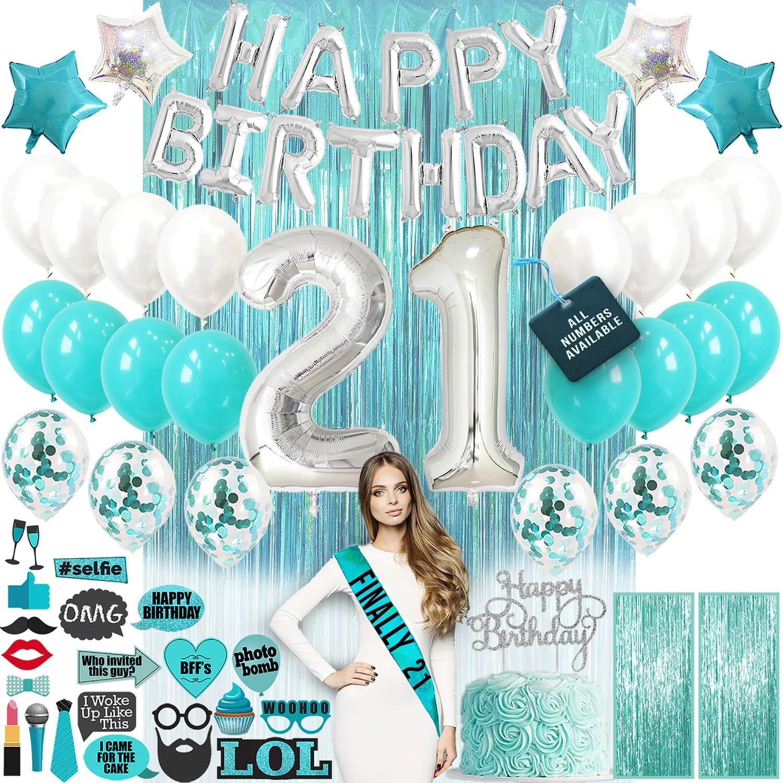 21st Birthday Decorations 21 Birthday Party Supplies 21 Cake Etsy