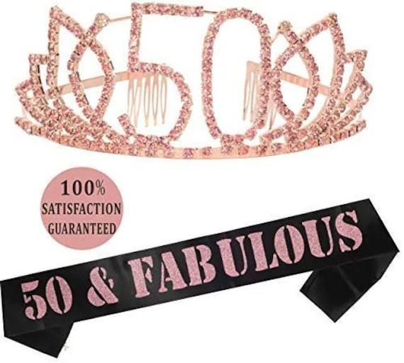 50th Birthday Tiara Sash Happy 50th Birthday Party Supplies 50 Etsy