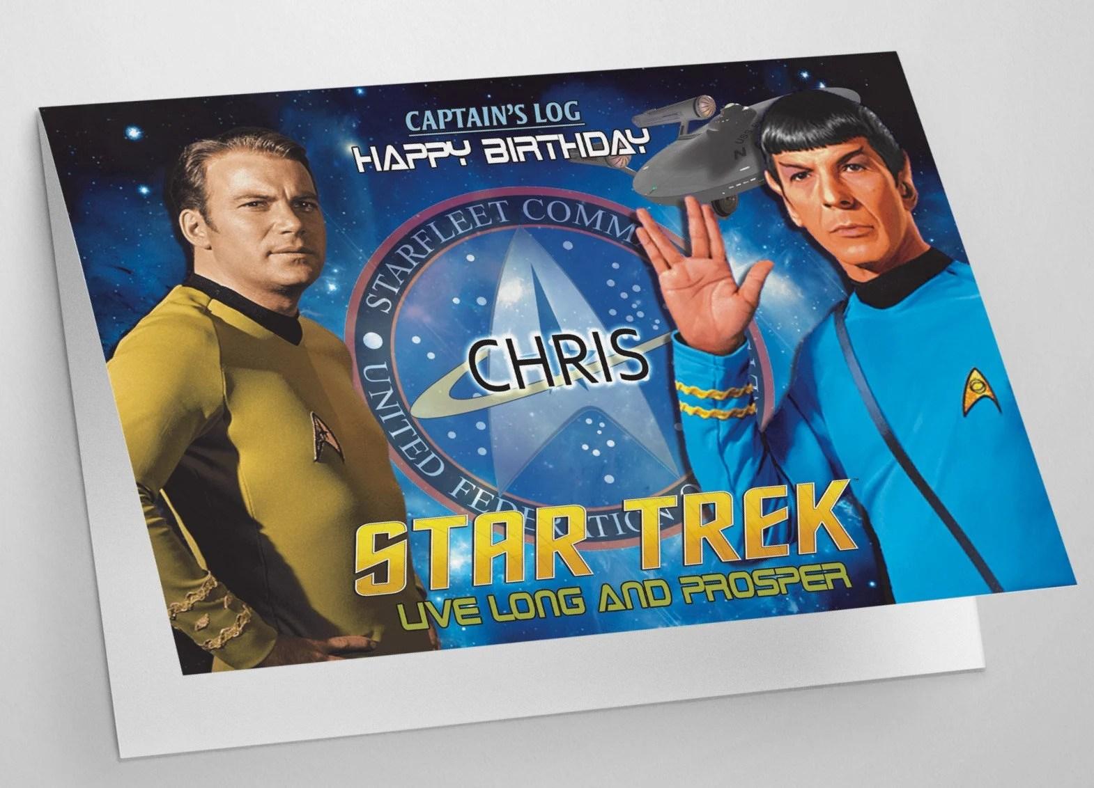 Greeting Cards Invitations Star Trek Personalised Birthday Card A5 Generations Picard Spock Klingon Borg Home Garden