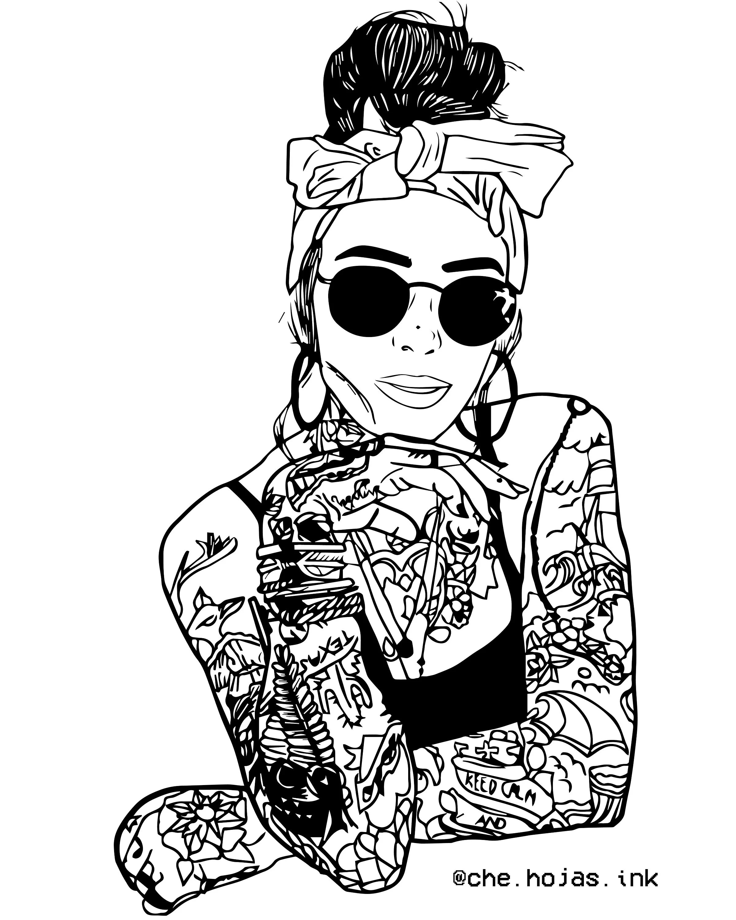 Inked Girl Tumblr Outline Aesthetic