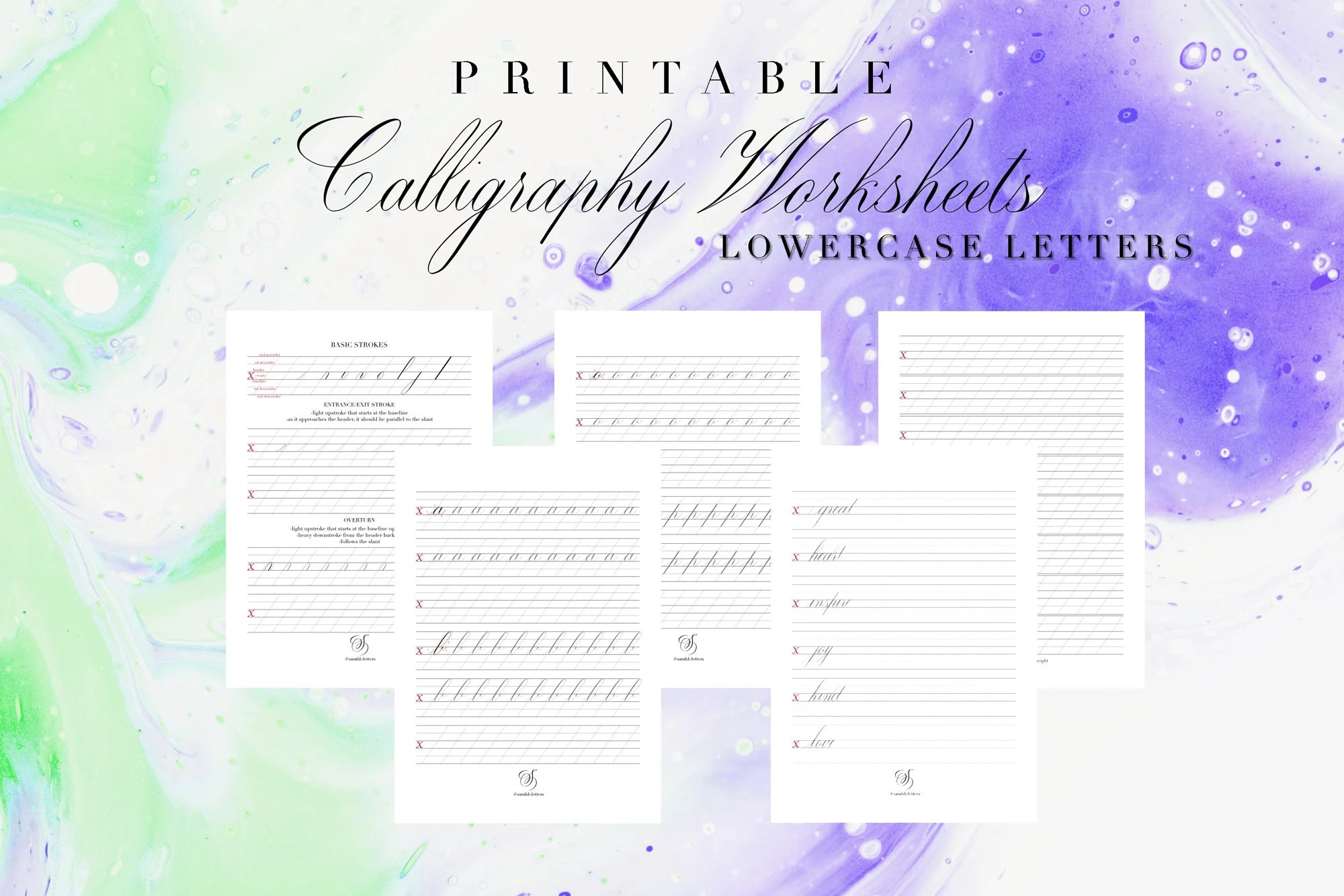 Lowercase Pointed Pen Calligraphy Worksheets Copperplate