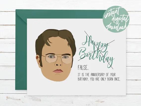 False Dwight Shrute Printable Birthday Card The Office Dunder Etsy