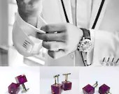Casino Cufflinks, epoxy resin, purple shot with silver, one of a kind, cube dice