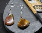 Hand finished TIGERS EYE Semi Precious Stone Silver Dangle Earrings, Free Shipping