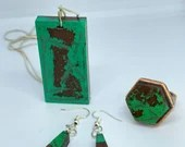Green and Brown, Unique Jewellery Set, Color Game, adjustable ring, french hook earrings, pendant necklace, exclusive set, gift for mum,