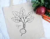 Vegan Tote Bag - Vegan Radish - Reusable Cotton Tote Bag – Eco-Friendly Bag