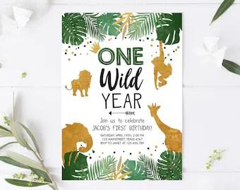 one wild year invite etsy