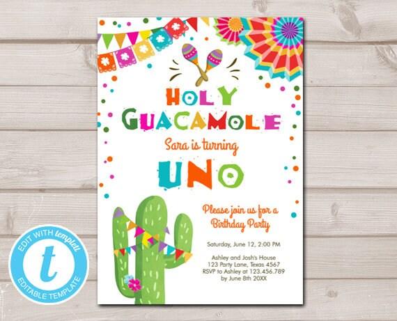 Uno Fiesta Birthday Invitation First Birthday Cactus Holy Guacamole Instant Download Printable Invitation Template Editable Templett 0045