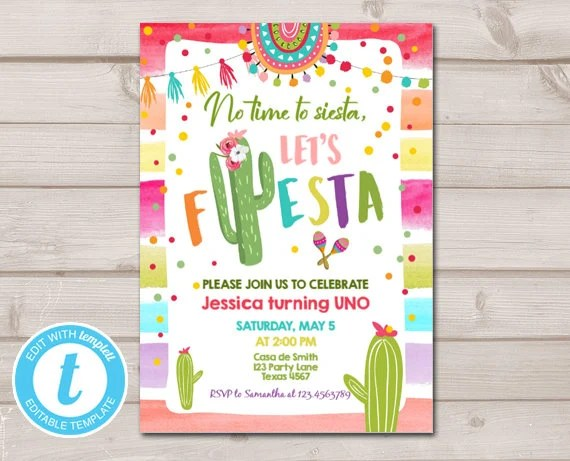 First Fiesta Birthday Invitation Cactus Succulent 1st Birthday Mexican Instant Download Printable Invitation Template Editable Templett 0134