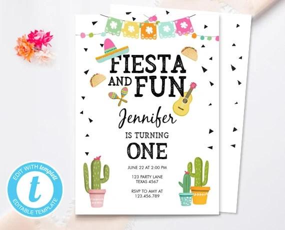 Fiesta And Fun Birthday Invitation First Birthday Cactus