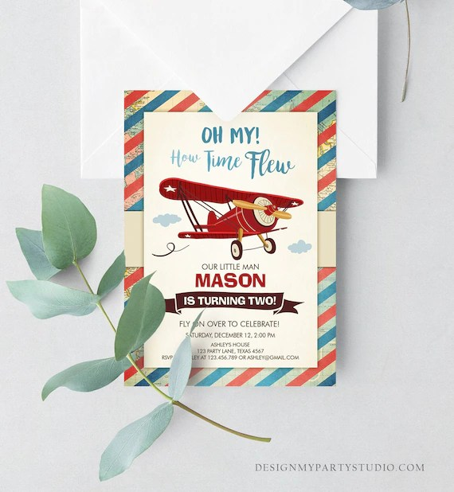 editable airplane birthday invitation