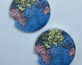 Custom Car Coasters - World Area Map Sandstone Car Coaster