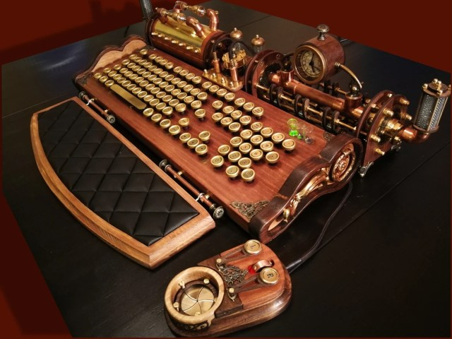 Set of steampunk (neo-victorian, antique look) keyboard, mouse and USB lights.