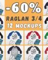 Bundle 12 Mockups Raglan 3 4 Sleeve Multi Colors Mock Ups Etsy