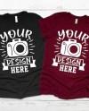 Family Mockup Black T Shirt Bella Canvas 3001 Maroon Black Etsy