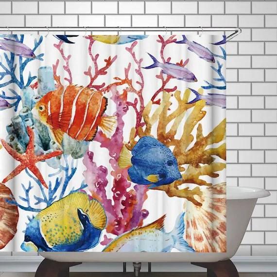 fish shower curtain waterproof colorful fabric bathroom curtain kids ocean