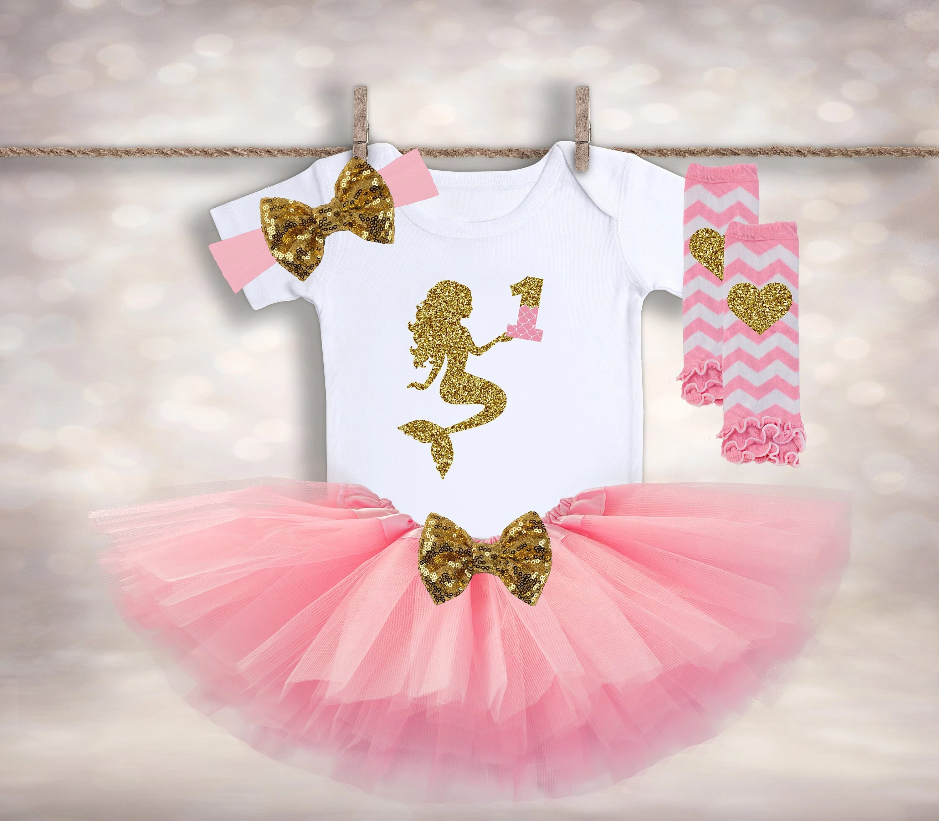 Little Girl S First Birthday Outfit Mermaid Birthday Etsy