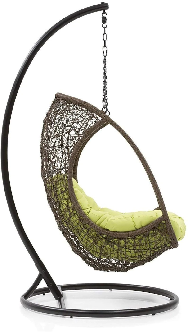 Hanging Hammock Chair With Stand Brown Balcony Swing Outdoor Indoor Porch Swing