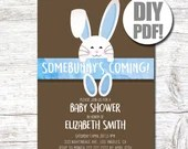 DIY Easter Baby Shower PDF Party Invitation 5x7 Baby Shower  Spring Bunny Party Invite Instant Download Rabbit Girl Boy Custom Personalize