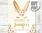 Bunny Birthday-Birthday Sign-Some Bunny Is One-Bunny Welcome Sign-Printable Sign-Birthday Welcome-Bunny Party-First Birthday-Spring Birthday