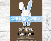 Boy Blue Easter Baby Shower Party Invitation 5x7 Spring Bunny Invite Rabbit Digital Download Printable Egg Hunt