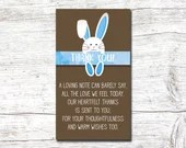 Boy Blue Easter Baby Shower Party Invitation Spring Bunny Invite Rabbit Digital Download Printable Egg Hunt Thank You 3.5x2