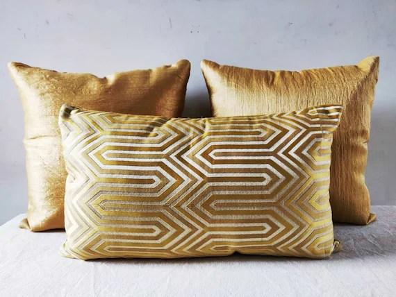 metallic gold pillow lumbar support gold throw pillow metallic stripe fabric indian bright shiny textured pillowcase 12 x 20 lumbar