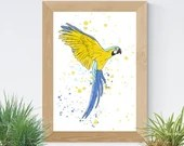 Printed with a watercolor-style parrot illustration, birds, art, wall decoration, decorative poster