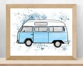 Printed with a watercolor style westfalia illustration, birth poster, art, children's illustration, wall decoration
