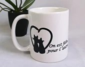 Vinyl decal alone, with a cup of coffee or wine glass with 2 cat that forms a heart, permanent sticker, cat lover