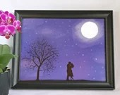 Printed with a night landscape illustration with watercolor style couple, art, wall decoration, decorative poster, love