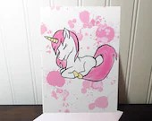 Party card with unicorn splash watercolor style, birthday, greeting card.