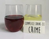 Decal vinyl wine glass with text partner in crime, custom sticker wine cup