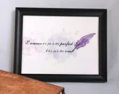Decorative poster print with love phrase and watercolor style pen, wall art, decoration.