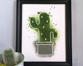 Printed with a watercolor-style cactus illustration, wall decoration, poster, poster, plant, art