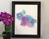 Printed with an illustration of a rainbow rabbit watercolor style, wall decoration, poster, Passover decoration, Animals, child