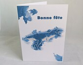 Party card with blue dinosaurs, t-rex in watercolor style with happy party, birthday, greeting card.