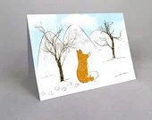 Card with fox in a snowy landscape in watercolor style with merry Christmas , greeting card.