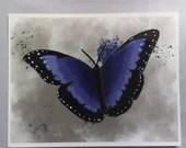 Printed with a blue butterfly illustration watercolor style, wall decoration, decorative poster,