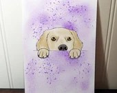 Party card with watercolor style splash dog, birthday, greeting card.
