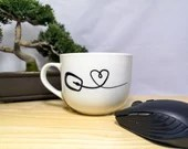 Decal vinyl for coffee mug with computer mouse with heart, custom mug, sticker, decoration, games, gamer