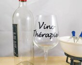 Decal vinyl wine glass with text wine therapy wine sticker personalization, decoration, wine, wine glass