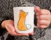 Coffee mug with watercolor style fox sublimated, original illustration printed on cup