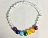 White chakra stone bracelet, bracelet with elastic bead. Jewelry. Rainbow bracelet. Multicolored bracelet