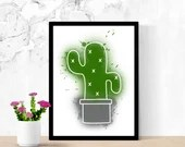 Print of a cactus style watercolor, wall decor, poster, Poster, Digital Art, art, plant