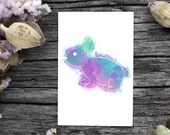 Print of a rainbow style rabbit watercolor, wall decor, poster, Easter decor, Digital Art, animal, child