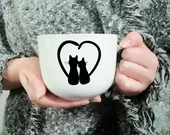 Decal vinyl for the coffee cup with 2 cat that forms a heart, custom mug, sticker embellishment