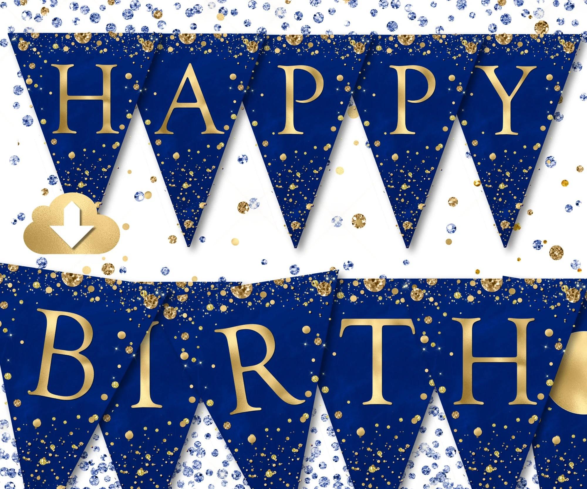 Happy Birthday Banner Blue Gold Birthday Banner Printable Etsy