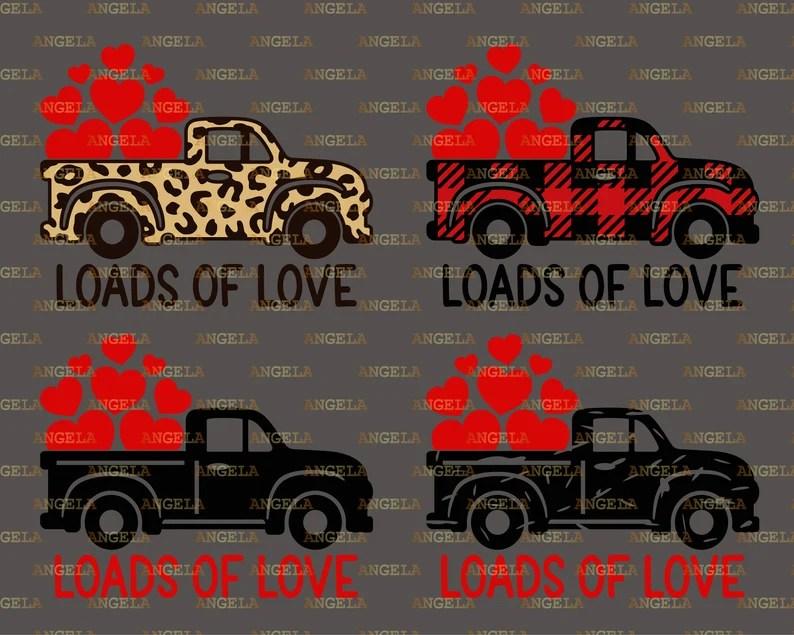 Download Loads of Love Svg Valentine Truck Svg Valentine's Day | Etsy