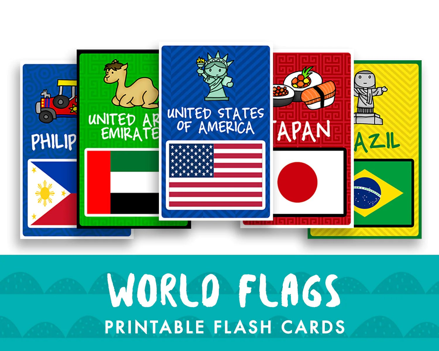 World Flags Printable Flash Cards For Kids Room Decor